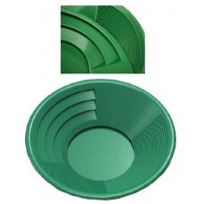 "14"" Gold Pan, Dual Riffles (3"" x 1/4"" Deep Riffles, Micro Riffles), Plastic Body, Green Color"